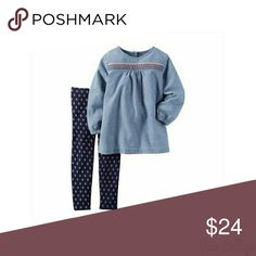 🎉HP🎉 Girls Carter' Denim Top with Leggings -NWT NWT- Carter's Denim Top with Leggings.light denim top with Navy Blue leggings with pink flower pattern. Carter's Matching Sets