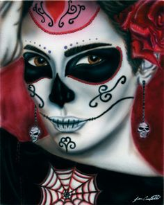 print Day of the dead portrait 2 by TheArtofJuanC on Etsy, $12.00