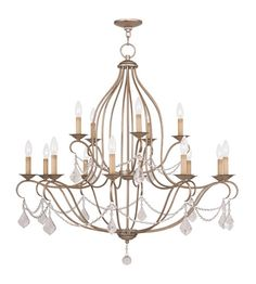 Livex Lighting Chesterfield 15 Light Chandelier in Antique Silver Leaf 6429-73 #lightingnewyork #lny #lighting