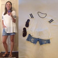 LuLaRoe Perfect Tee - ivory with gray bands, cut offs, brown flip flops