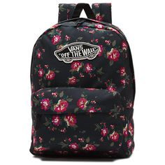 Shop women's accessories from VANS! From hats to socks, Vans has the accessories you need to take your style to a new level! Vans Backpack, Floral Backpack, Black Backpack, Backpack Bags, Vans Noir, Vans Bags, Mini Mochila, Backpack For Teens, Floral Bags