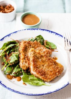 Sesame-Crusted Pork Cutlets with Crispy Shallots! Fast, easy midweek meal. Serve with a quick spinach salad. #pork #porkchops #EasyDinner #Dinner
