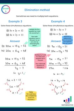 Two harder examples showing how to use the elimination method to solve simultaneous equations. Gcse Maths Revision, Maths Exam, 10th Grade Math, Ninth Grade, Seventh Grade, Algebra Worksheets, Maths Solutions, Math Notes, Math Vocabulary