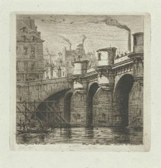Charles Meryon (French, Le Pont Neuf, Etching on thin laid paper, unframed. The tenth state (of eleven), with margins. Reference: Schneiderman 27 and Fine Art Prints, Canvas Prints, Photoshop, New Paris, Deviantart, Historical Maps, Vintage Wall Art, Heritage Image, Metropolitan Museum