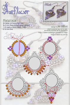 Beaded earrings PATTERN Starflower Star Flower