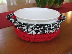 Crocheted Rag Basket Red White Black by RoseJasmine on Etsy, $15.00