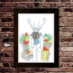 Gentleman Stag with brilliant beard art print  Stag by pilotlight, £13.00 #stag #etsy #tattoo #illustration #flowers #deer #beard #coffee #scarf #suit
