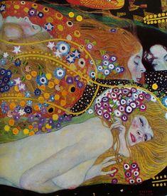 "Detail of ""Water Serpents""; oil on canvas; by Gustav Klimt"