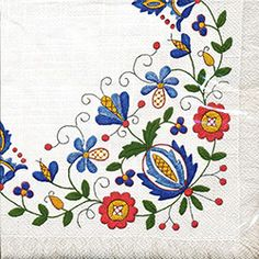 "Hungarian Embroidery Patterns Polish Folk Art Napkins (package of - 'Kaszub Fringe"" - Earn 10 Points for every dollar you spend! Polish Embroidery, Hungarian Embroidery, Folk Embroidery, Embroidery Stitches, Embroidery Patterns, Machine Embroidery, Polish Folk Art, Scandinavian Folk Art, Paper Napkins For Decoupage"