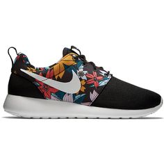 Nike Roshe Run Floral Print (490 BRL) ❤ liked on Polyvore featuring shoes, sneakers, nike, flats, shoe club, women, nike sneakers, black shoes, floral flats and nike flats