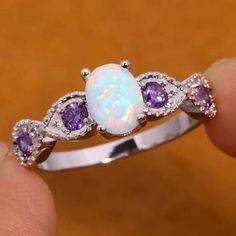 Amethyst Wedding Rings, Crystal Engagement Rings, Beautiful Engagement Rings, Beautiful Rings, Purple Wedding Rings, Pretty Rings, Opal Rings, Amethyst Rings, Amethyst Jewelry
