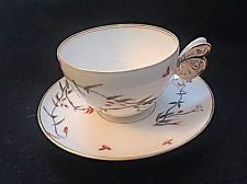 beautiful butterfly handle limoges? tea cup and saucer