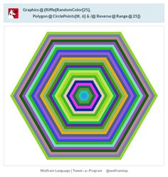 Graphics@{Riffle[RandomColor[25], Polygon@CirclePoints[#,6]&/@Reverse@Range@25]}