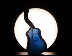 THE BAND series - guitar blue. Handmade glass guitars in happy colors, by Kjell Engman, Kosta Boda. A perfect gift for a music loving friend!