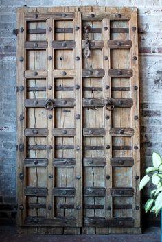 Antique Indian Door Set Teak Wood Heavily by hammerandhandimports
