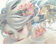 移ろうままに F6 Canvas Delicate Japanese Oil Paintings of Ethereal Woman Submerged with Nature by Miho Hirano