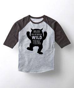 Take a look at this Athletic Heather & Heather Black 'Wild Thing' Raglan Tee - Kids today!