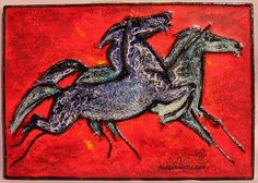 Large Tile Plaque with Horses For Sale   Antiques.com   Classifieds