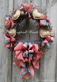 Patriotic Country Hearts and Bows Wreath  ~A New England Wreath Company Designer Original~