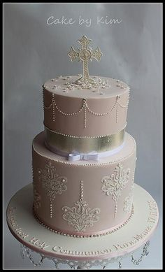 Pink Holy Communion cake via Kim | Flickr