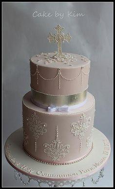 Pink Holy Communion cake via Kim | Flickr