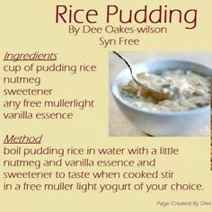 Synfree slimming world rice pudding Slimming World Rice Pudding, Slimming World Desserts, Slimming World Puddings, Slimming World Cake, Slimming World Breakfast, Slimming World Tips, Slimming World Recipes Syn Free, Slimming Eats, Slimming World Flapjack