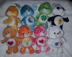 "Care Bears Lot 5 Special Edition NWT Tie Dye Red Blue White Star Panda 8"" Plush  #CareBears"