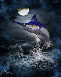 Digital Art - The Great Blue Marlin by Ali Oppy Blue Marlin, Fantasy Artwork, The World's Greatest, Art Forms, Fine Art America, Mystic, Original Artwork, Fine Art Prints, Digital Art