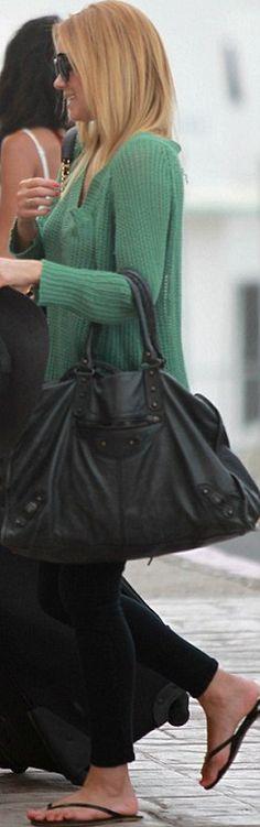 black flip flops, black handbag, and black sunglasses pin it!