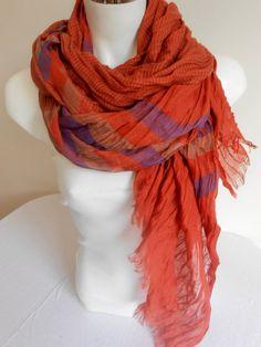 Orange Men's scarf Male Striped scarf Men by Nazcolleccolors