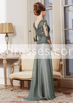 Elegnat Woman Dresses A Line Three Quarter Sleeve Long Mother Dresses Floor Length Mother Of The Bride Dresses Party Gowns Hot
