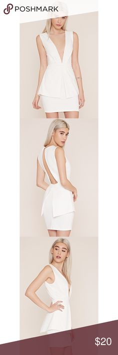 NWT V-Neck White Peplum Mini Dress, sz S Gorgeous crisp white peplum dress. Bought for event, but didn't fit me. NWT and in perfect condition! Forever 21 Dresses Mini