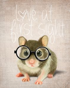 A small mouse with glasses on a rustic background (print 10x12) Illustration fine art giclée prints. $30.00, via Etsy.