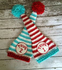Thing 1 & Thing 2 Beanies For Twins in Red, White and Teal Available in Newborn to 12 Months Size- MADE TO ORDER