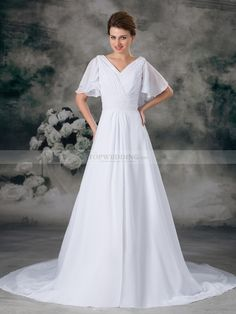 V Neck Chiffon Wedding Dress with Pearl and Butterfly Sleeves
