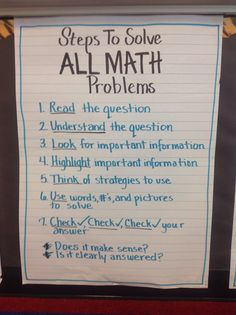 Solving math problems anchor chart