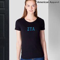 Zeta Tau Alpha Sorority Embroidered Jersey Tee #Greek #Sorority #Clothing #ZTA #Zeta #ZetaTauAlpha