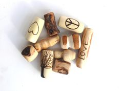 Dreadlock accessory // wooden dread beads // 10 wood bead set superdeluxe / hair accessories / beads for dreads with symbol / hippie natural by HeadstrongHippie on Etsy https://www.etsy.com/listing/217156886/dreadlock-accessory-wooden-dread-beads