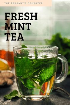 Easily make fresh mint tea (hot or iced) for a soothing and refreshing beverage. There are many varieties of mint you can use and additional herbs and flavourings you can add as well. Fresh Mint Tea, Mint Iced Tea, Fresh Mint Leaves, Mint Recipes, Herb Recipes, Peppermint Leaves, Peppermint Tea, Mint Herb, Spearmint Tea