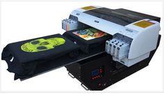 DTG Flatbed T-shirt Printer A2 Full Package:  All-purpose flatbed printer is a new generation of high-tech digital printing equipment. It can output high-clear digital image which is colorful, waterproof, sunproof, abrasion resistant and never faded. It apply the continuous and automatic ink supply system.