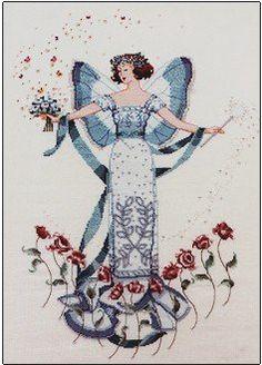 Apirl's Blue Diamond, cross stitch by Mirabilia Designs using Kreinik metallic thread.