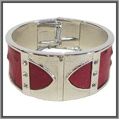 Ostrich leather crystal bangles - campari OB17 Bangles, Bracelets, Crystals, Silver, Red, Leather, Jewelry, Jewlery, Jewerly