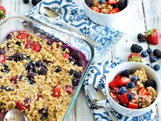 Triple Berry Baked Oatmeal Recipe on Yummly. @yummly #recipe