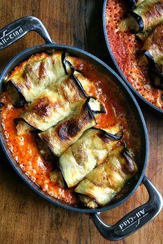 Eggplant Involtini ~ oh yum…little ricotta-stuffed eggplant rolls in sauce. via Adventures in Food