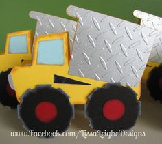 www.facebook.com/LissaLeigheDesigns Silhouette Cameo Cricut Dump Truck Invitations Card Making