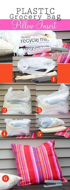 How to Make an Outdoor Pillow Using Plastic Grocery Bags. by alexandria