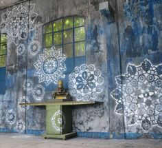 Street Art | NeSpoon, Lace Graffiti - green, white & blue - fresh spring colours #tallonperryinteriors