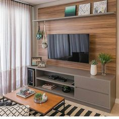 Amazing Modern TV Wall Decor Idea for Living Room Design Look Luxury - Istri Sholehah Living Room Tv Unit, Home Living Room, Interior Design Living Room, Living Room Designs, Living Room Decor, Tv Wanddekor, Tv Wall Decor, Home Decor Furniture, Furniture Online