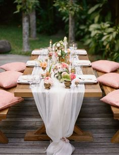20 Unique Reception Seating Ideas That Will Surprise and Delight Your Guests – Diy Wedding 2020 Picnic Table Wedding, Wedding Reception Seating, Reception Decorations, Wedding Centerpieces, Rustic Wedding, Ivory Wedding, Trendy Wedding, Picnic Table Decorations, Wedding Table Runners