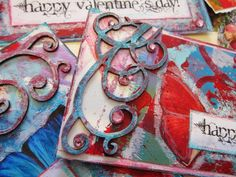 palette paper Valentines  I'm sharing some Valentines I made using paper leftover from monoprinting with a Gelli plate.  This paper isn't the actual prints, it's paper that was used as a palette to brayer out the paints, plus some LSS chipboard I was using as masks in the printing process.